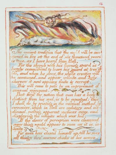 """""""The Ancient Tradition.., Illustration and Text from 'The Marriage of Heaven and Hell"""", C.1790-3-William Blake-Giclee Print"""