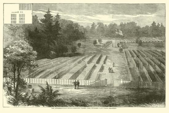 The Andersonville Burial-Grounds Where Were Interred 14,000 Union Prisoners, May 1865--Giclee Print
