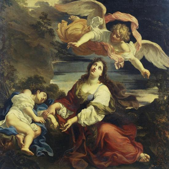The Angel Appearing to Hagar and Ishmael in the Desert-Giuseppe Ghezzi (Attr to)-Giclee Print