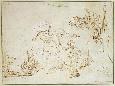 The Angel Appears to Hagar and Ishmael in the Wilderness (Pen and Brown Ink with Bodycolour on Pape-Rembrandt van Rijn-Giclee Print
