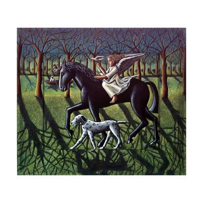 THE ANGEL. HORSE, DOG & DOVE-PJ Crook-Premium Giclee Print