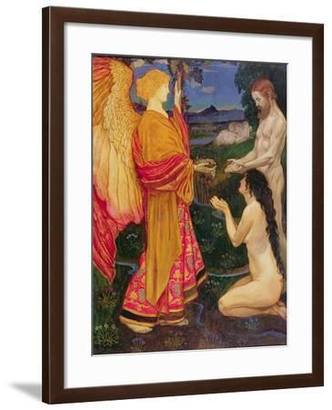 The Angel Offering the Fruits of the Garden of Eden to Adam and Eve-John Byam Shaw-Framed Giclee Print