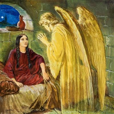The Angel with Wonderful News-Clive Uptton-Giclee Print