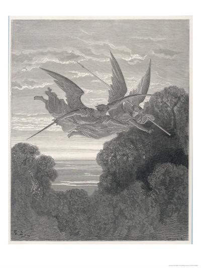 The Angels Ithuriel and Zephon Fly with Sword and Lance-Gustave Dor?-Giclee Print
