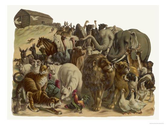 The Animals Emerge Two by Two from Noah's Ark--Giclee Print