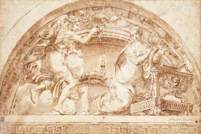 The Annunciation: a Design for a Lunette-Girolamo Mazzola Bedoli-Giclee Print
