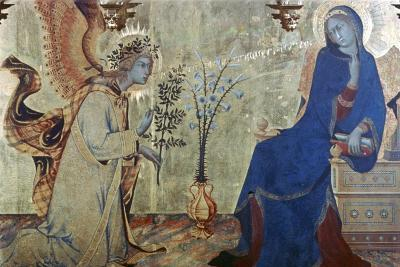 The Annunciation and Two Saints, (Detail), 1333-Simone Martini-Giclee Print