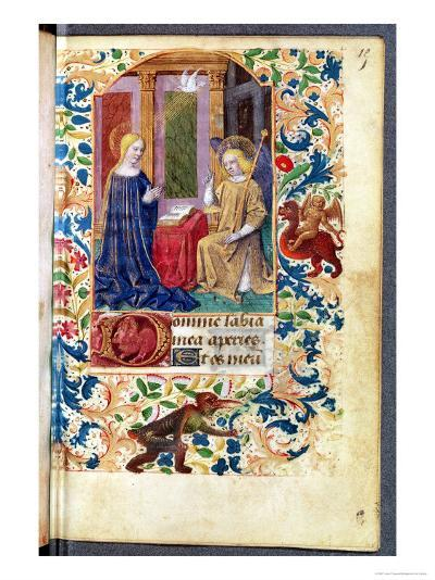 """The Annunciation, from """"Heures D L'Usage De Rome,"""" circa 1465-Jean Fouquet-Giclee Print"""