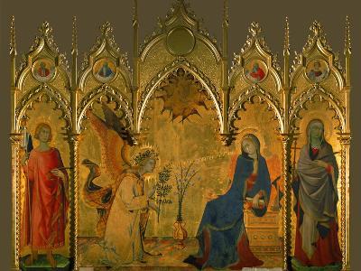The Annunciation, Saints Asano and Margaret, Prophets Jeremiah, Ezechiel, Isaiah, and Daniel-Simone Martini-Giclee Print