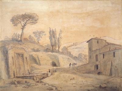 The Antique Fountain and Arch at Grottaferrata, Rome-Gaspar van Wittel-Giclee Print