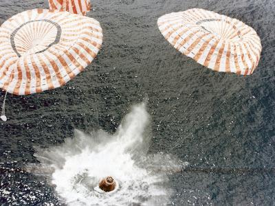 The Apollo 15 Capsule Lands Safely Despite a Parachute Failure, Mid-Pacific Ocean, 1971--Photographic Print
