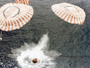 The Apollo 15 Capsule Lands Safely Despite a Parachute Failure, Mid-Pacific Ocean, 1971