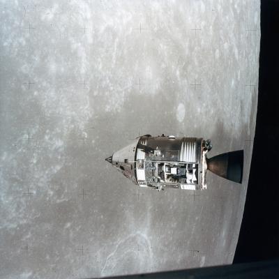 The Apollo 15 Command and Service Modules in Lunar Orbit, 1971--Photographic Print