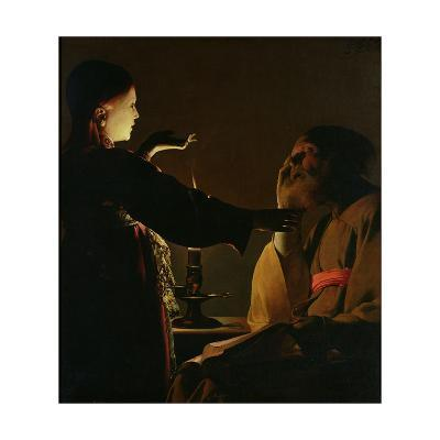 'The Appearance of the Angel to St. Joseph', also known as 'The Dream of St. Joseph', 1652-Georges de La Tour-Giclee Print