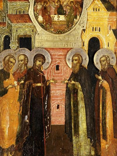 The Appearance of the Holy Mother of God to Saints Sergei and Nikon, 18th Century--Giclee Print