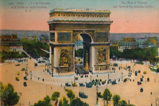 The Arc de Triomphe and Tomb of the Unknown Soldier, Paris, c1920-Unknown-Giclee Print
