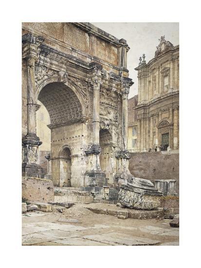 The Arch of Septimius Severus in Rome-Luigi Bazzani-Giclee Print