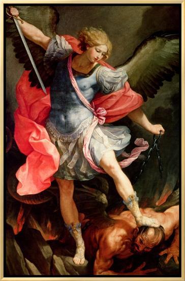 The Archangel Michael Defeating Satan-Guido Reni-Framed Canvas Print