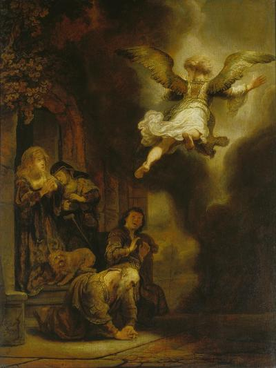 The Archangel Raphael Taking Leave of the Tobit Family, 1637-Rembrandt van Rijn-Giclee Print