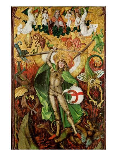 The Archangel Saint Michael in Combat with Lucifer, C.1490-1505 (Oil on Wood)-Hans the Elder Leu-Giclee Print