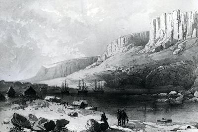 The Arctic Squadron in Leevely Harbour, Island of Disco, Coast of Greenland, 1855--Giclee Print