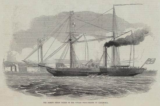 The Ardent Steam Packet on Her Voyage from Trieste to Alexandria--Giclee Print