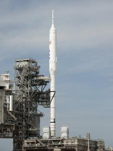 The Ares I-X Rocket Is Seen on the Launch Pad at Kennedy Space Center
