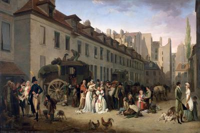 The Arrival of a Stagecoach at the Terminus, Rue Notre-Dame-Des-Victoires, Paris, 1803-Louis Leopold Boilly-Giclee Print
