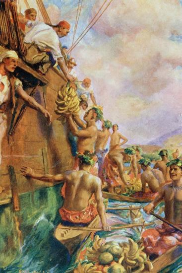 The Arrival of Captain James Cook in Tahiti in 1769--Giclee Print