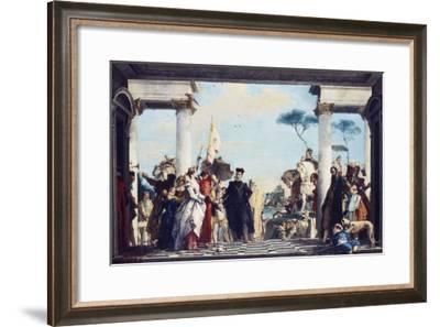 The Arrival of Henri Iii at the Villa Contarini. Before 1750-Giambattista Tiepolo-Framed Giclee Print