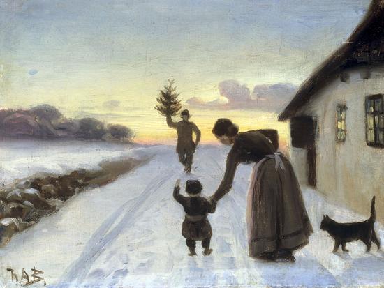 The Arrival of the Christmas Tree-Hans Anderson Brendekilde-Giclee Print