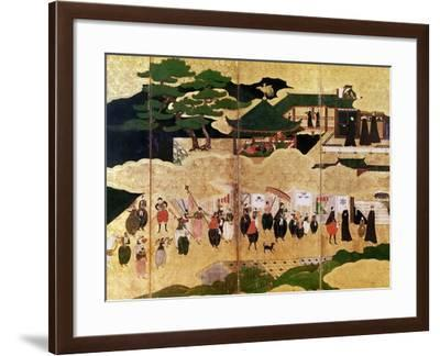 The Arrival of the Portuguese in Japan, Detail of the Right-Hand Section of a Folding Screen--Framed Giclee Print