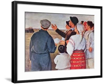 The Arrival of the Tractors, 1951--Framed Giclee Print