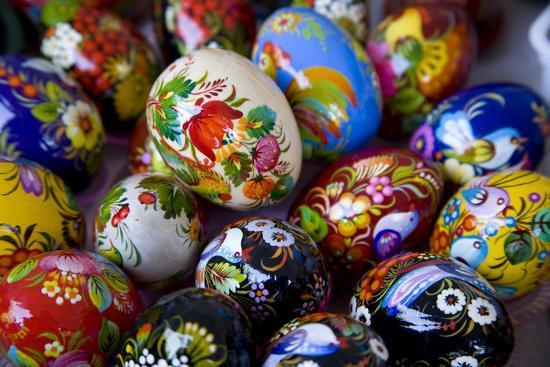 The Art of Painted Ukrainian Easter Eggs at a Flower Festival-Stephen St^ John-Photographic Print