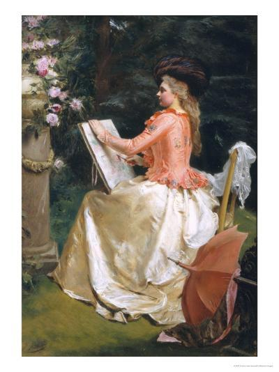 The Artist in the Garden-Gustave Jean Jacquet-Giclee Print