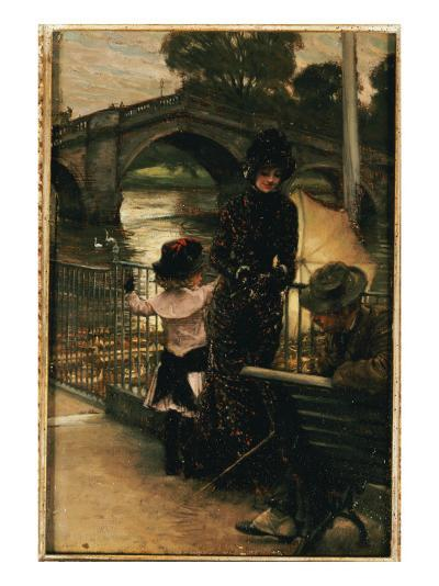 The Artist, Mrs. Kathleen Newton and Her Niece, Lilian Hervey, by the Thames at Richmond, 1878-79-James Tissot-Giclee Print