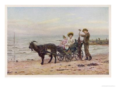 The Artist's Children in a Goat Carriage Ay Broadstairs Kent England-Helen Allingham-Giclee Print