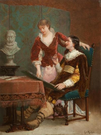 The Artist's Critic-Louis Claude Mouchot-Giclee Print