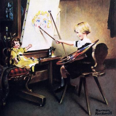 The Artist?s Daughter (or Little Girl with Palette at Easel)-Norman Rockwell-Giclee Print