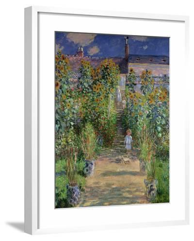 The Artist's Garden at Vetheuil, 1880-Claude Monet-Framed Giclee Print