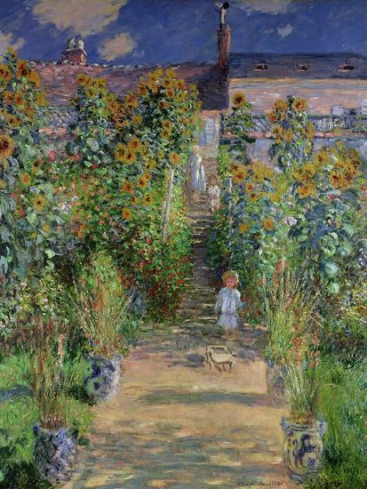 The Artist's Garden at Vetheuil, 1880-Claude Monet-Premium Giclee Print