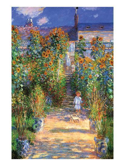 The Artist's Garden at Vetheuil-Claude Monet-Art Print