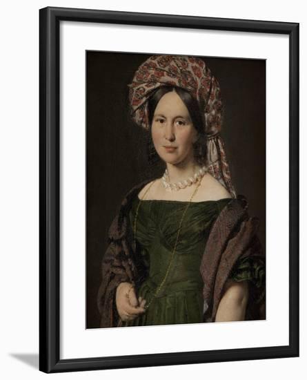 The artist's wife Cathrine, 1842-4-Christian-albrecht Jensen-Framed Giclee Print