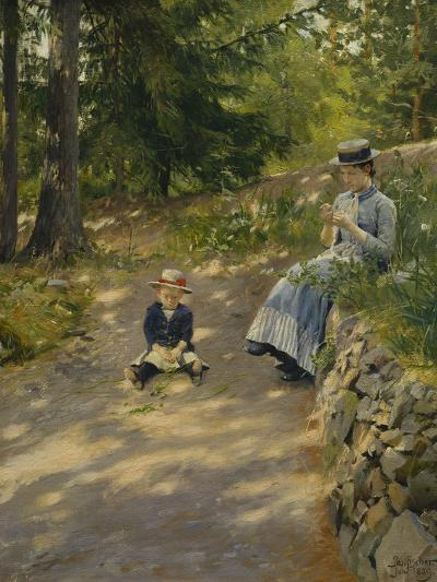 The Artist's Wife Dagny and their Son Sigurd-Paul Fischer-Giclee Print