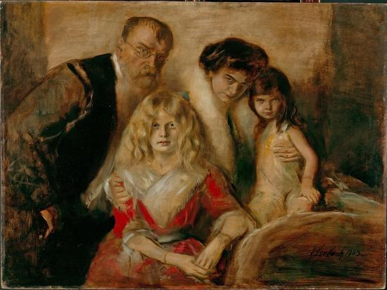 The Artist with His Wife and Children-Franz Von Lenbach-Giclee Print