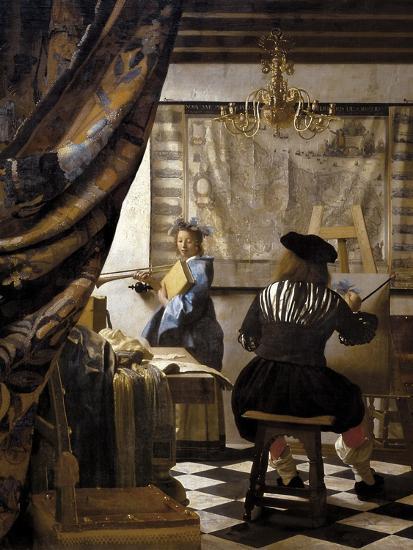 The Artists Studio or the Art of Painting-Johannes Vermeer-Premium Giclee Print
