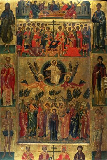 The Ascension of Christ with the Hetoimasia, 15th Century-Andreas Ritzos-Giclee Print