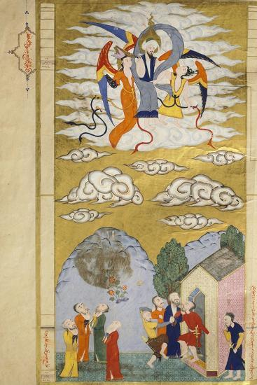 The Ascension, the Prophet Muhhamed Being Carried to Heaven by the Archangel Gabriel--Giclee Print