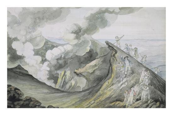 The Ascent of Vesuvius, 1785-91 (W/C over Graphite on Paper)-Henry Tresham-Giclee Print