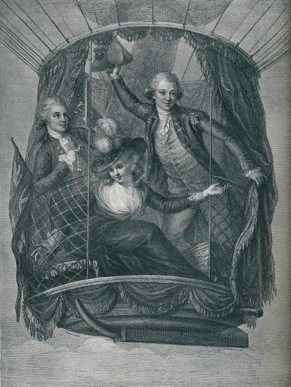 ''The Ascent of Vincent Lunardi, accompanied by Mrs. Sage and Mr. Biggin', 1785, (1910)-Unknown-Giclee Print